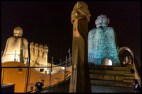La Pedrera at night. Light show on roof.